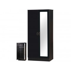Alpha Black Gloss Two Tone 2 Door Mirrored Wardrobe