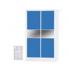 Alpha Blue Gloss & White Sliding Wardrobe