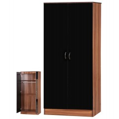 Alpha Black Gloss & Walnut 2 Door Std Set