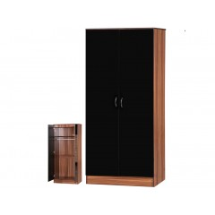 Alpha Black Gloss & Walnut 2 Door Standard Wardrobe
