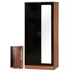 Alpha Black Gloss & Walnut 2 Door Mirrored Set