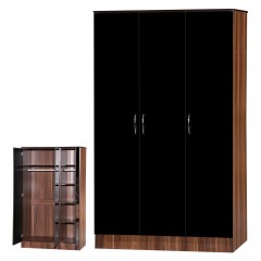 Alpha Black Gloss & Walnut 3 Door Standard Set