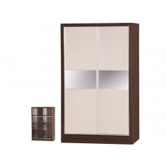 Alpha Creme Gloss & Walnut 2 Door Sliding Wardrobe
