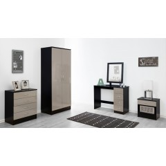 Alpha Grey Gloss & Black Chest Of 4 Drawers