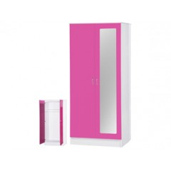 Alpha Pink Gloss & White 2 Door Mirrored Wardrobe