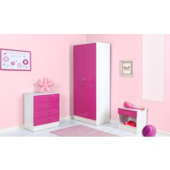 Alpha Pink Gloss & White 2 Door Standard Wardrobe