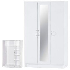 Alpha White Gloss Two Tone 3 Door Mirrored Set