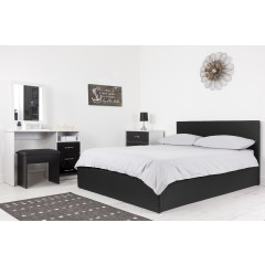 Boston Black 4ft6 Ottoman Fabric Bed