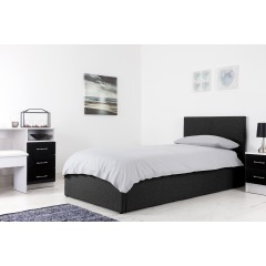 Boston Black 3ft Ottoman Fabric Bed