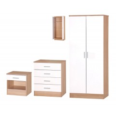 Galaxy White Gloss & Oak 3 Piece Set