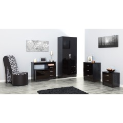 Marina Black Gloss Two Tone 2 Door Combi Wardrobe