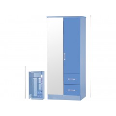 Marina Blue Gloss Two Tone 2 Door Mirrored Wardrobe