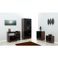Marina Black Gloss & Walnut Chest Of 3 Drawer