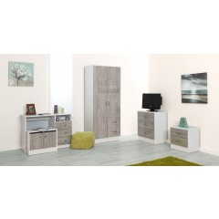 Marina Grey Oak Gloss & Ash White 2 Drawer Bedside