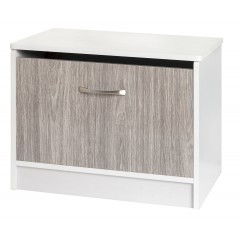 Marina Grey Gloss & Ash White Ottoman Storage