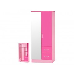 Marina Pink Gloss Two Tone 2 Door Mirrored Wardrobe