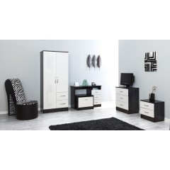 Marina White Gloss & Black 2 Door Combi Wardrobe
