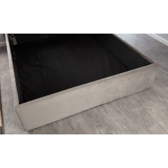 Boston Steel Silver 5ft Ottoman Brushed Velvet Bed