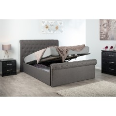 WINFIELD GREY 4FT6 END LIFT OTTOMAN HOPSACK FABRIC BED