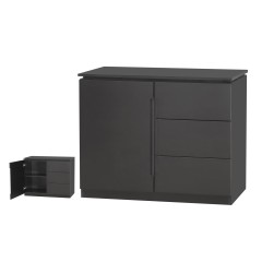 Orb Black 3 Drawer 1 Door Small Sideboard