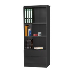 Orb Black 2 Drawer Tall Book Case