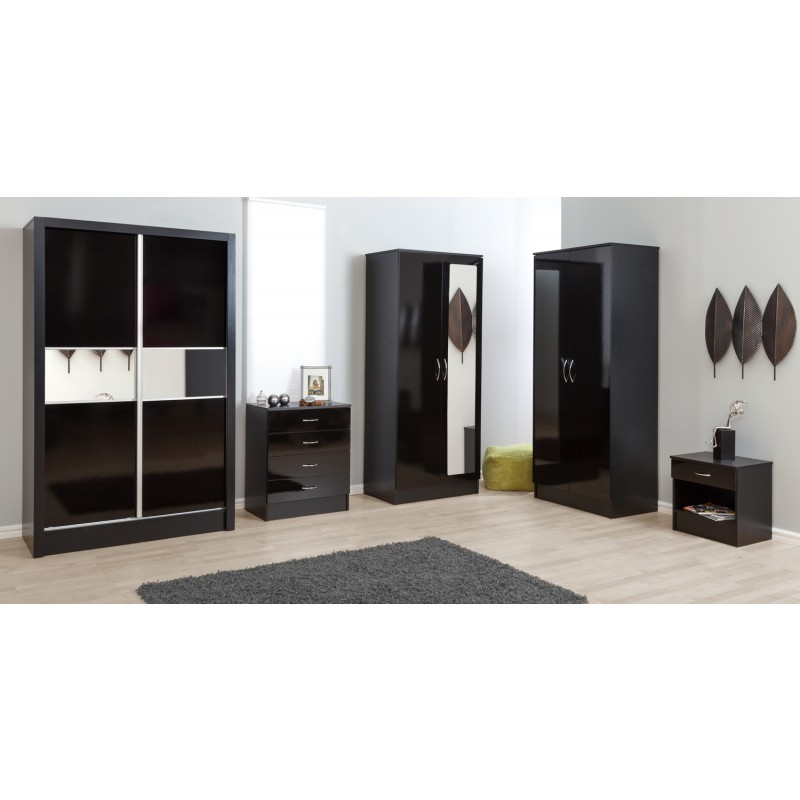 Alpha Black Gloss Two Tone 2 Door Standard Wardrobe