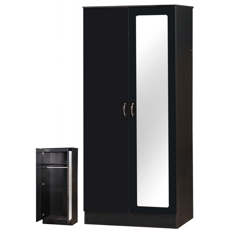 ... Alpha Black Gloss Two Tone 2 Door Mirrored Set ...