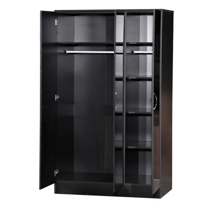 Alpha Black Gloss Two Tone 3 Door Standard Wardrobe