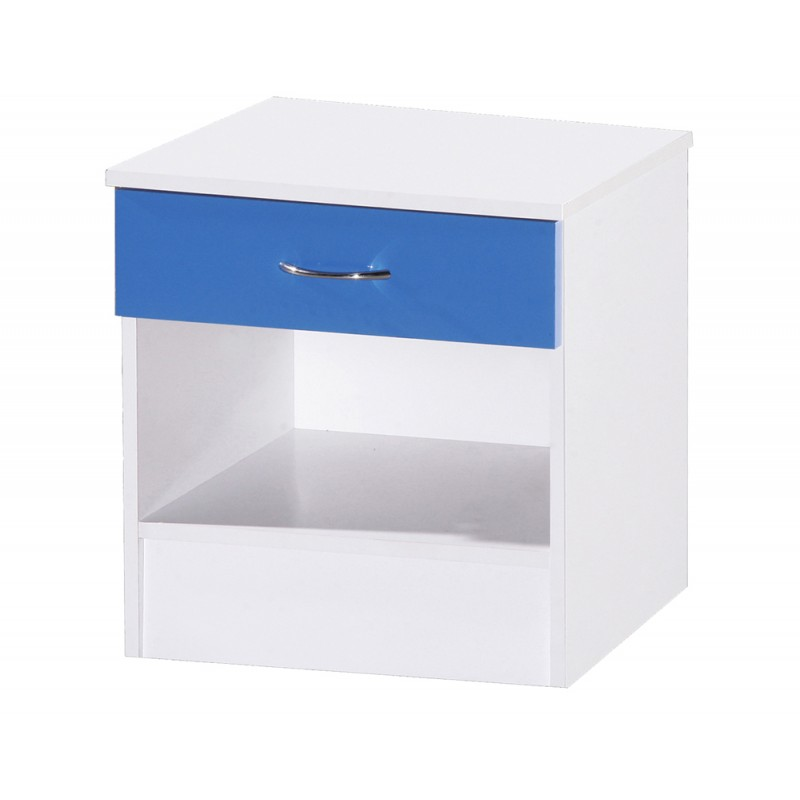 Alpha Blue Gloss & White 1 Drawer Bedside