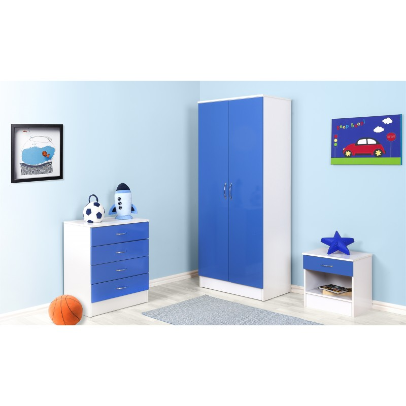 Alpha Blue Gloss & White Chest Of 4 Drawers