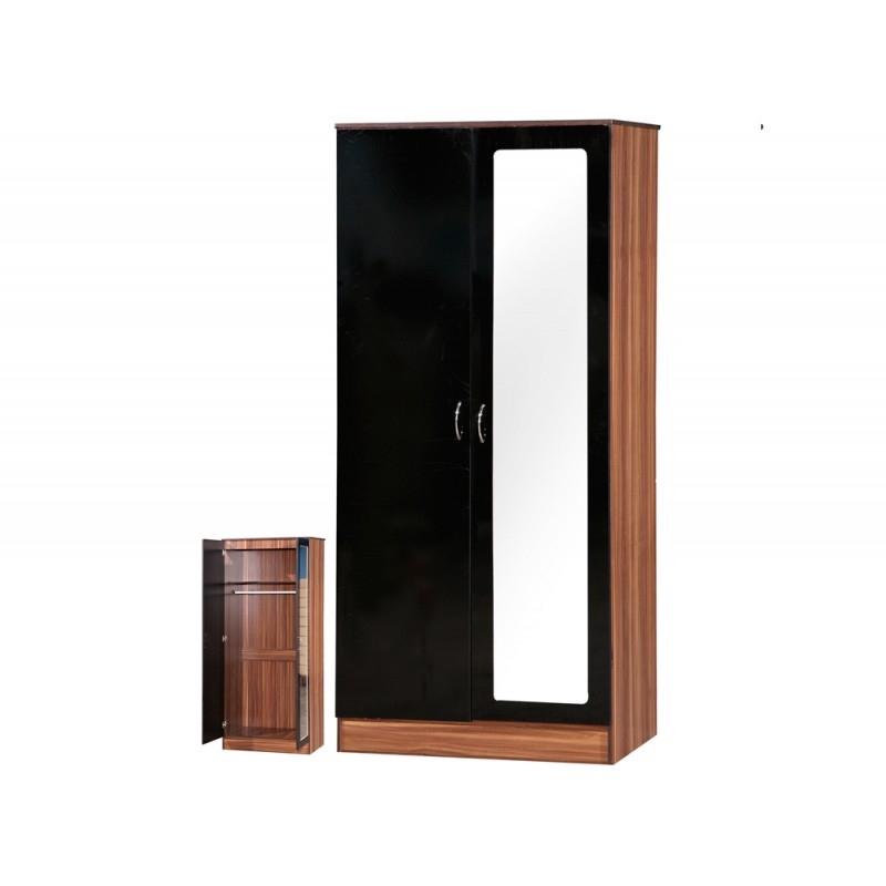 Alpha Black Gloss & Walnut 2 Door Mirrored Wardrobe