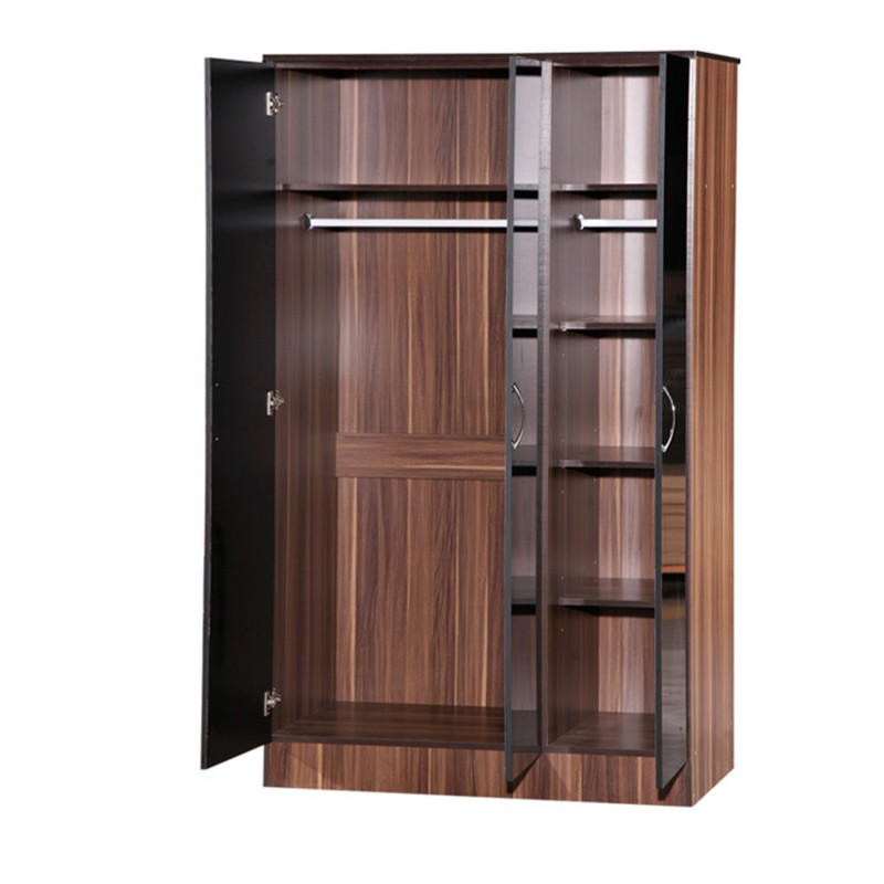 Alpha Black Gloss & Walnut 3 Door Standard Wardrobe