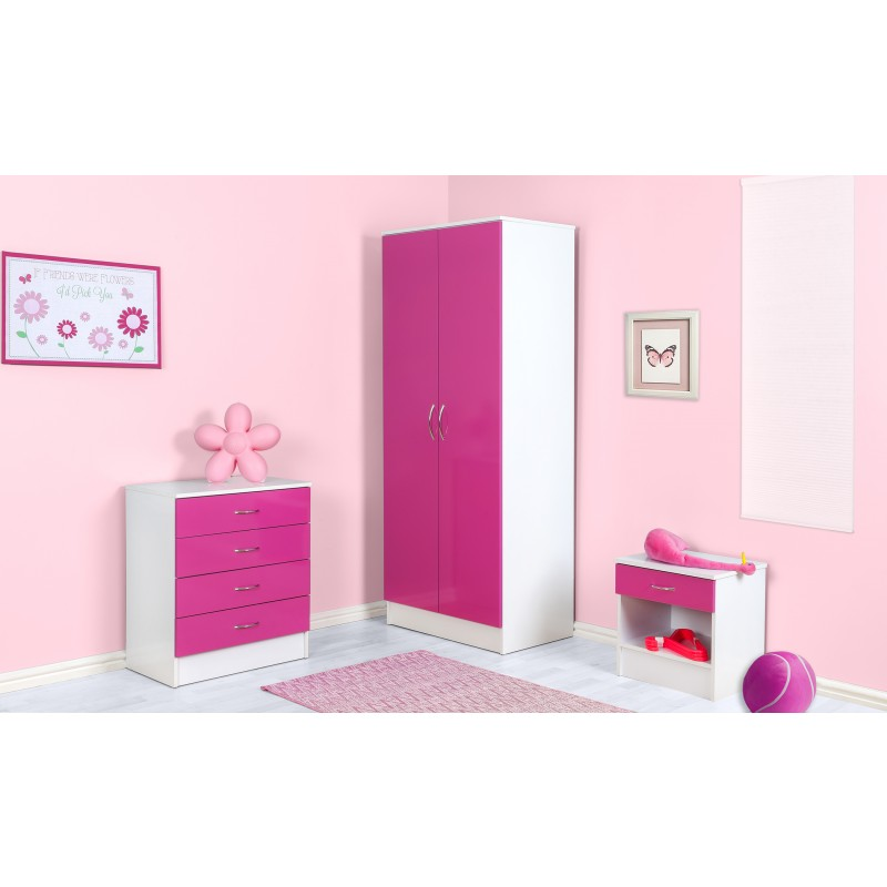 Alpha Pink Gloss & White 1 Drawer Bedside