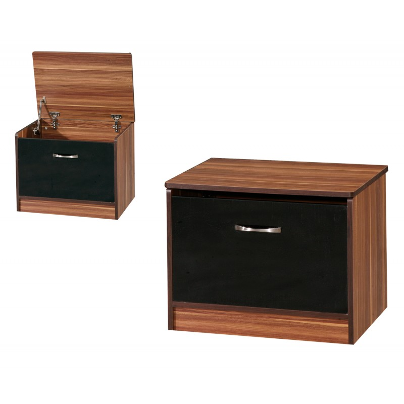 Marina Black Gloss & Walnut Ottoman Storage