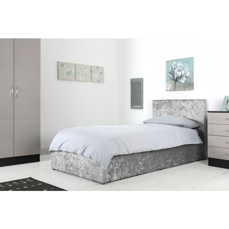 reputable site 07b83 6b44e Boston Grey 3ft Ottoman Crushed Velvet Bed