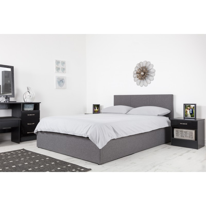 Boston Grey 4ft6 Ottoman Fabric Bed