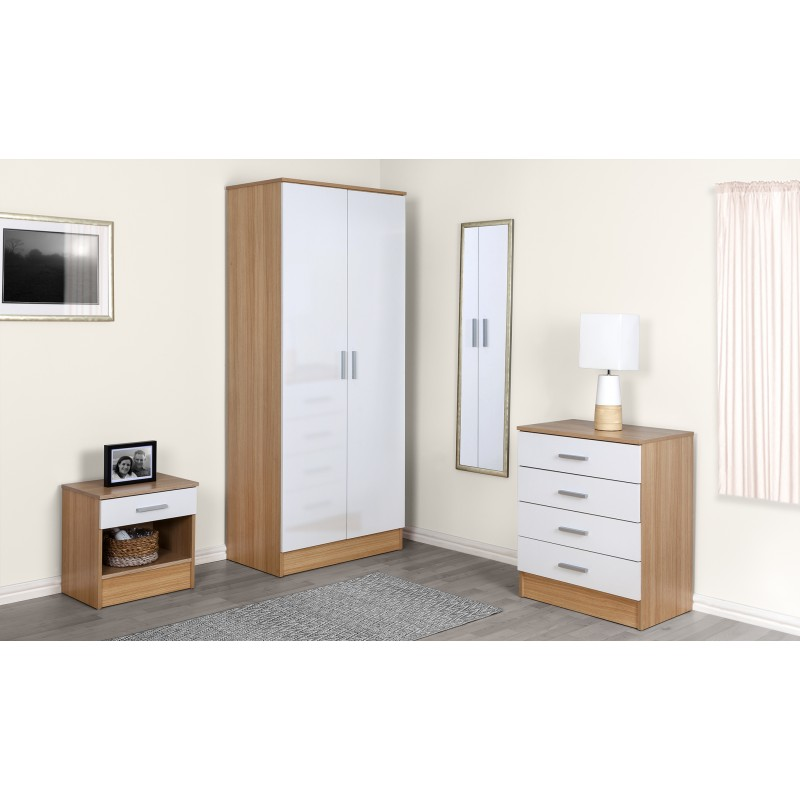 Galaxy White Gloss Oak 3 Piece Set Ark Furniture