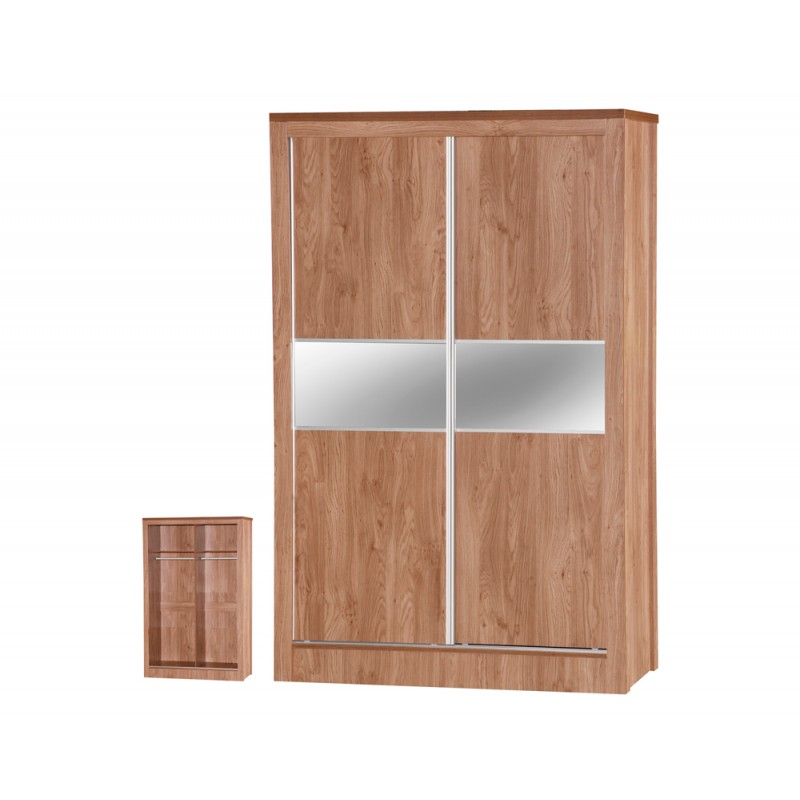 Holland Oak Sliding Mirrored Wardrobe
