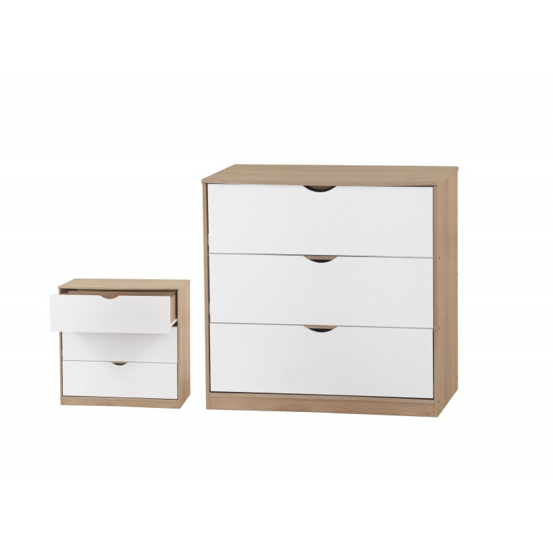 Montana Chest of 3 Drawer White & Sonama Oak