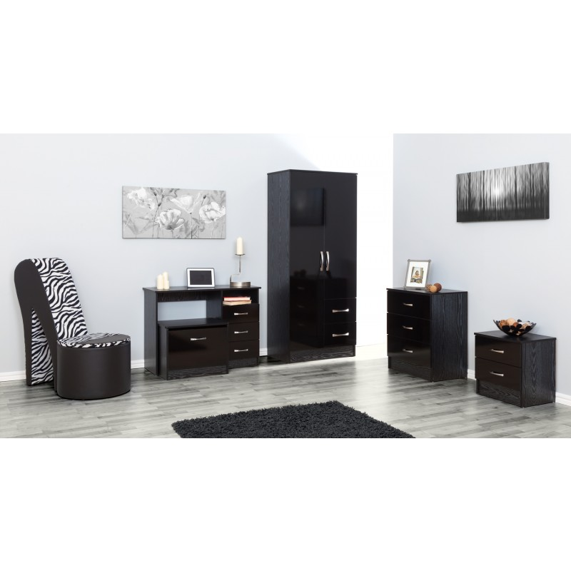 Marina Black Gloss Two Tone 2 Drawer Bedside