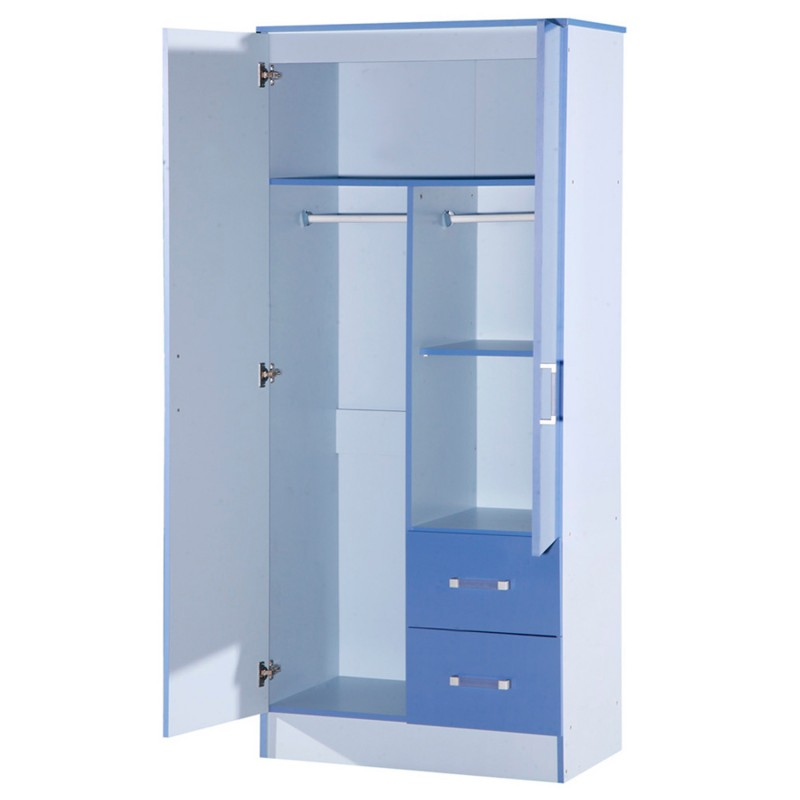 Marina Blue Gloss Two Tone 2 Door Combi Wardrobe