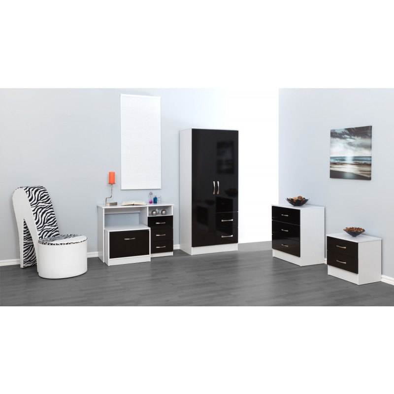 Marina Black Gloss & Ash White 2 Drawer Bedside