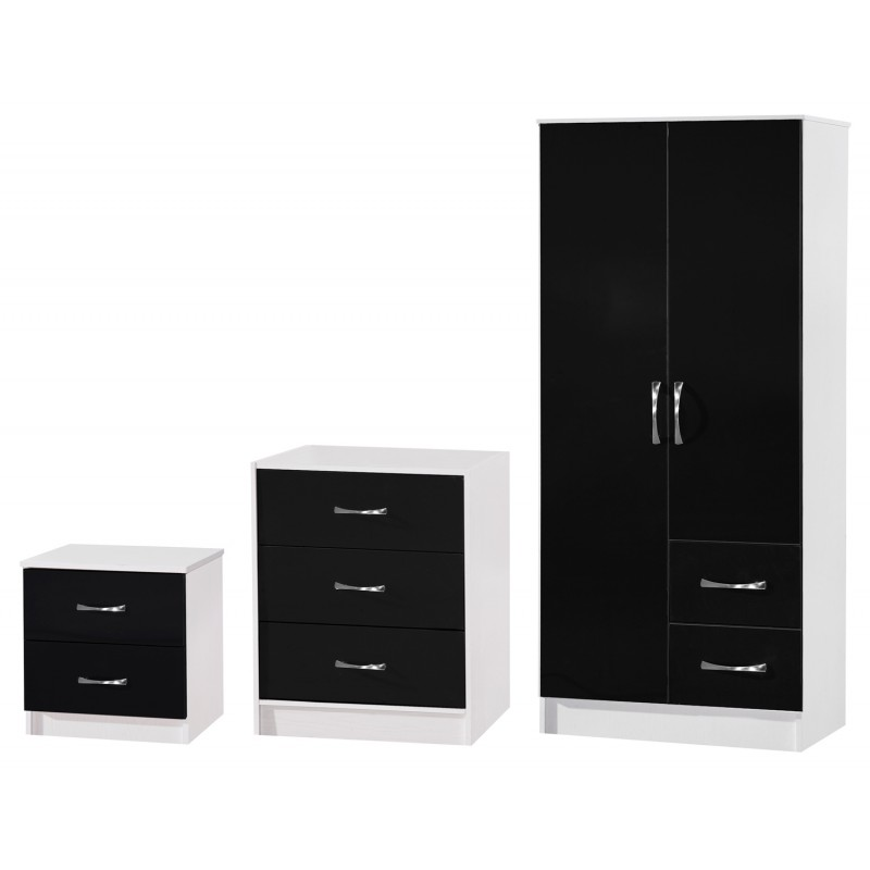 Marina Black Gloss & Ash White 3 Piece Set