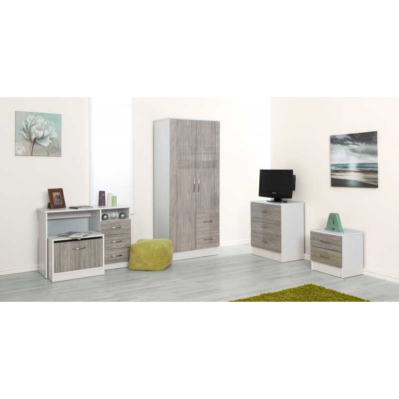 Marina Grey Gloss & White 2 Door Combi Wardrobe