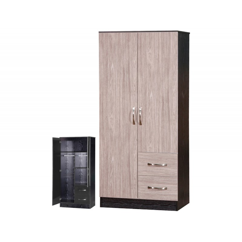 Marina Grey Gloss & Black 2 Door Combi Wardrobe