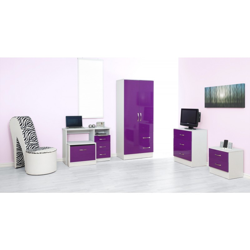 Marina Purple Gloss & Ash White 2 Drawer Bedside