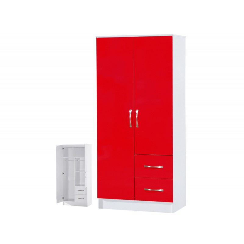 Marina Red Gloss & White 2 Door Combi Wardrobe