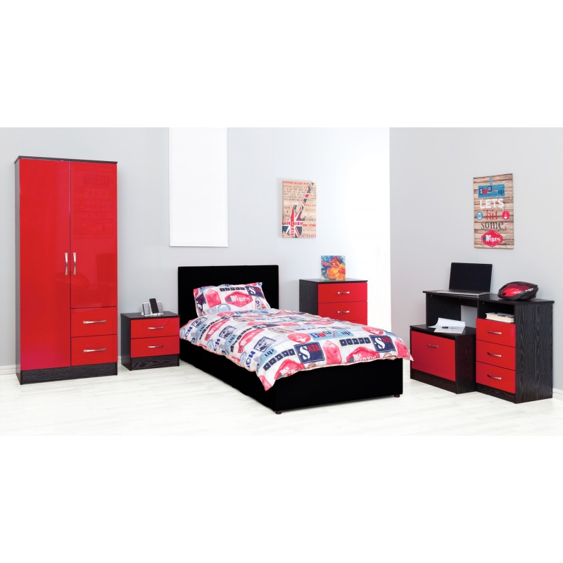 Marina Red Gloss & Ash Black Ottoman Storage