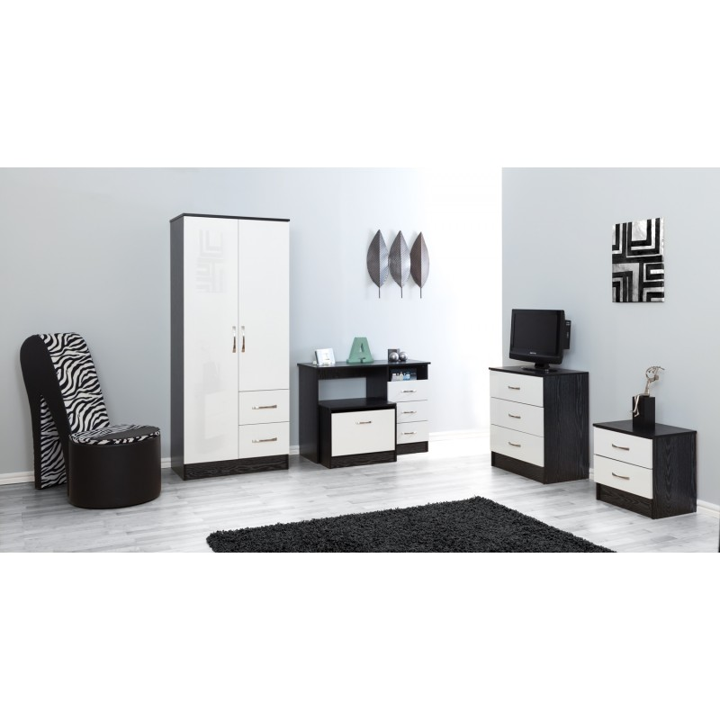 Marina White Gloss & Black Chest Of 3 Drawer