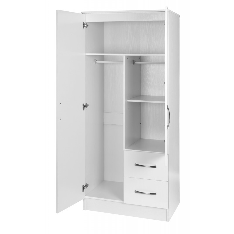 Marina white gloss two tone 2 door combi wardrobe ark for 1 door wardrobe with shelves
